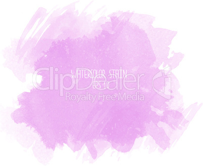 Pink watercolor stain on white background
