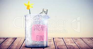 Composite image of dreams fund message