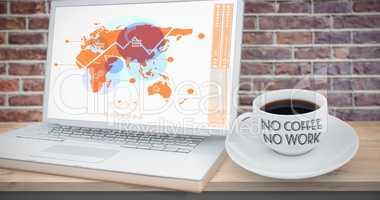 Composite image of no coffee no work