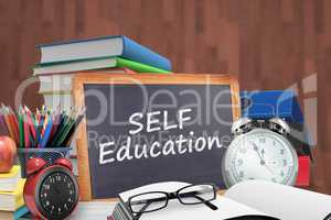 Composite image of self education word