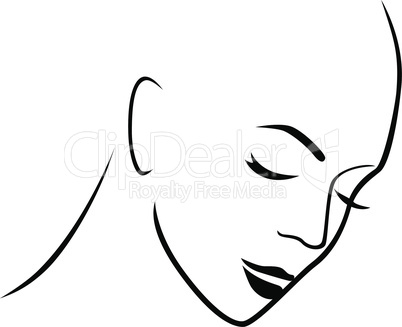 Abstract gloomy female hairless head