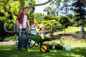 Father carrying his son and daughter in a wheelbarrow