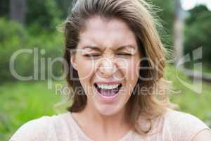 Woman making a grimace