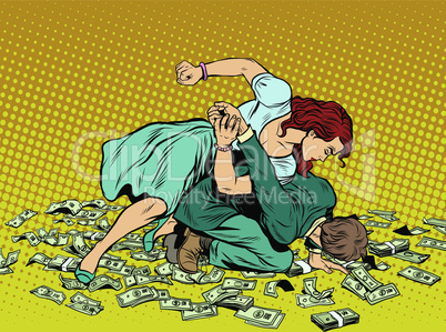 Woman beats man in fight for the money