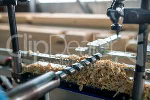 Machine tool for woodworking. Close-up of drill