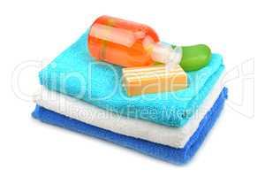 Towel, soap, shampoo