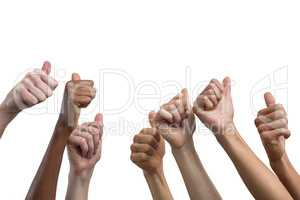 Multiethnic women showing their thumbs up