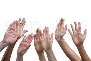 Multiethnic women raising their hands up