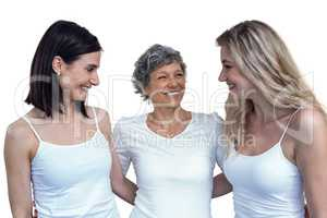 Women standing together with arm around
