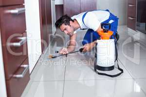 Man holding torch while spraying insecticide