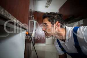 Manual worker concentration below sink