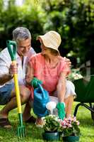 Senior couple with gardening equipment at yard