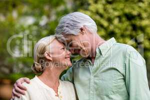 Senior couple touching head in yard
