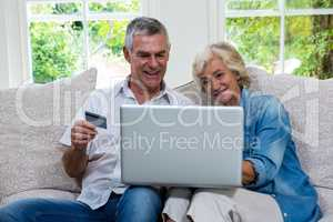 Senior couple shopping online using laptop at sitting room
