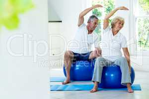 Active senior couple doing aerobics on ball