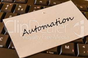 Automation - note on keyboard in the office