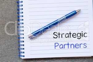 Strategic partners write on notebook