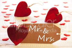 Romantic Label With Hearts, Text Mr. And Mrs.