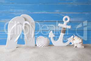 Greeting Card With Summer Decoration Like Anchor And Flip Flops