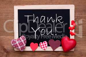 Blackboard With Textile Hearts, Text Thank You