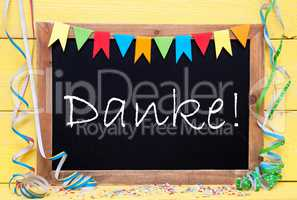 Chalkboard With Party Decoration, Text Danke Means Thank You