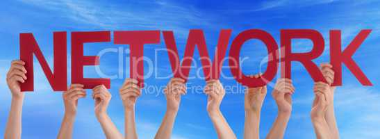 Many People Hands Holding Red Straight Word Network Blue Sky