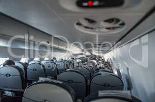 Interior airplane with passengers