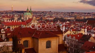Sunset timelapse of Prague Old Town district (Mala Strana)