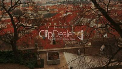 Wide Tilting Shot of Prague Old Town