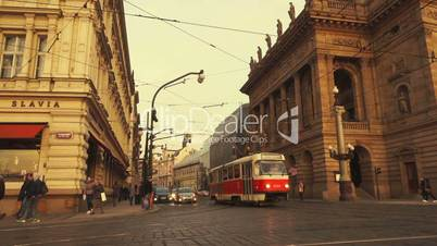 Traffic Flowing in Ultra Slow Motion Past the National Theater in Prague