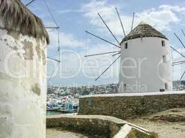 Mykonos as seen from between two windmills