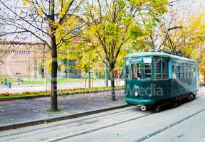 Old tram in Milano, Italy
