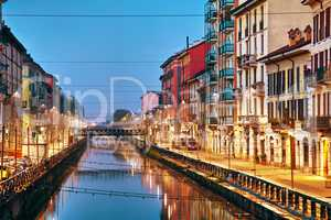 The Naviglio Grande canal in Milan, Italy
