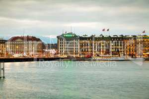 Geneva cityscape overview at night