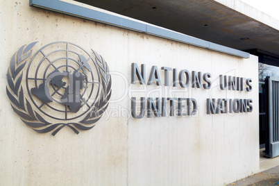 United Nations palace sign in Geneva