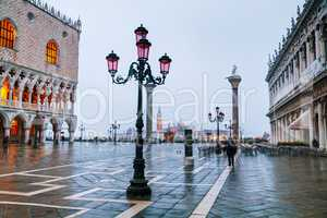 San Marco square in Venice during a flood