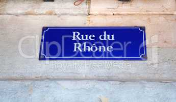 Rue du Rhone street sign in Geneva