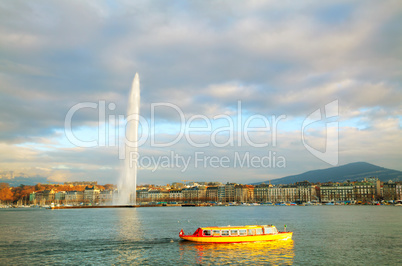Geneva cityscape overview with the Water Fountain (Jet d'Eau)