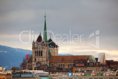 Geneva cityscape overview with St Pierre Cathedral