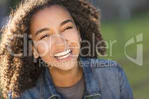 Mixed Race African American Girl Teenager With Perfect Teeth