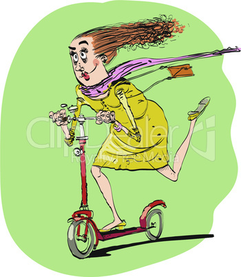 The woman rides off on a scooter
