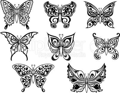 Set of eight black butterflies
