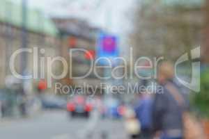 Blurred street scene in a city center