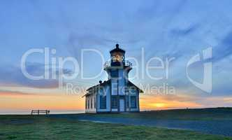 Sunset over Point Cabrillo Light Station State Historic Park, Mendocino County, California