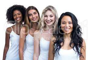 Multiethnic women standing in a line