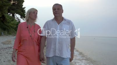 Adult couple walking on beach and talking