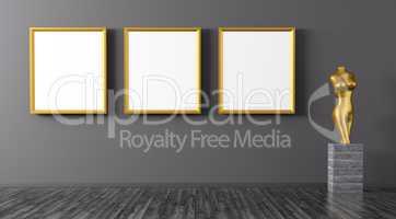 Three golden frames and statuette interior background 3d renderi