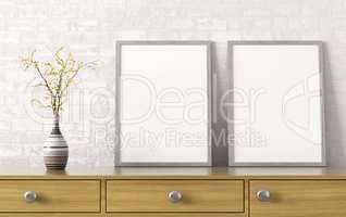 Two posters on chest of drawers 3d rendering