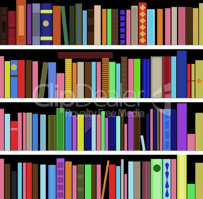 Books vector seamless texture vertically and horizontally. Bookshelf background.