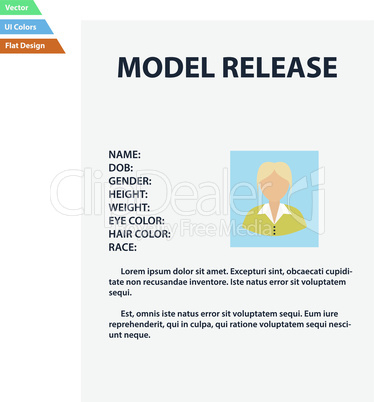 Flat design icon of model release in ui colors